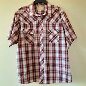Wranglers Western Pearl Snap Button Short Sleeve Men's Shirt XL